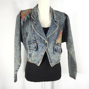 Vintage 80's/90's Hand-Painted Crop Jean Jacket